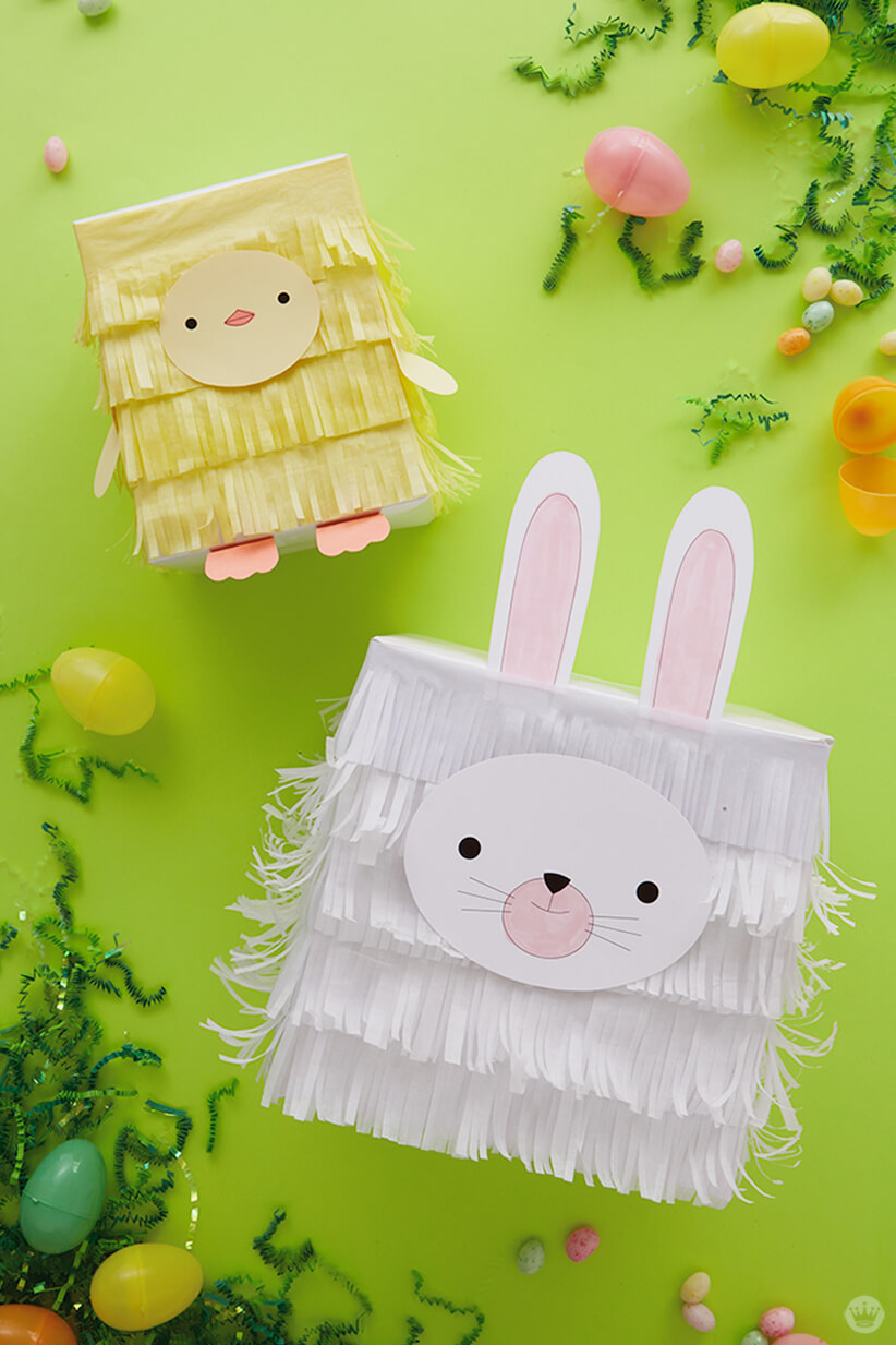 Turn boxes into bunnies and chicks with kids easter gift wrap ideas kids easter gift wrap ideas tissue paper chick and bunny negle