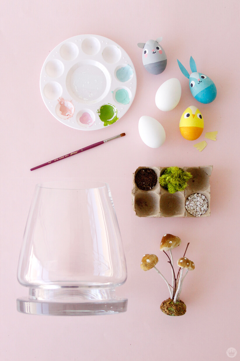 Easter Terrarium supplies | thinkmakeshareblog.com