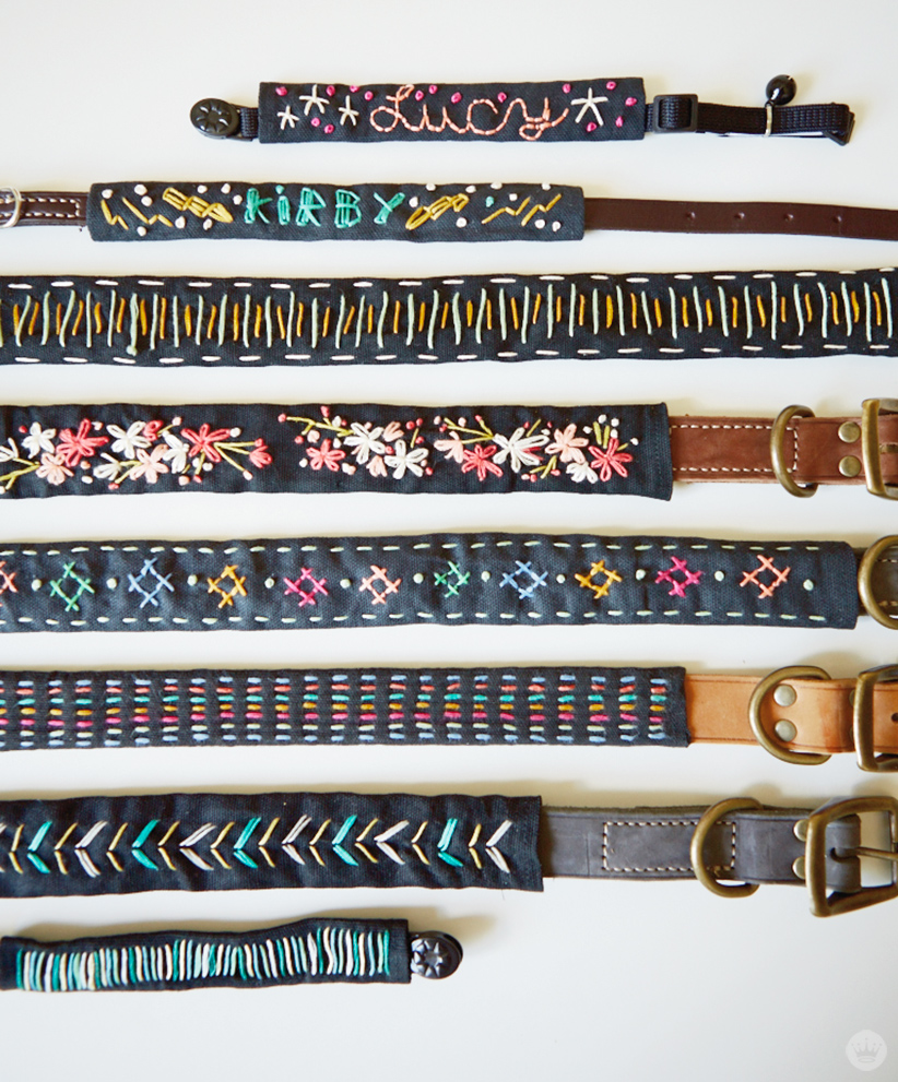 Custom Embroidered Dog Collars with unique stitching in a variety of colors