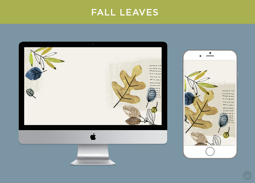 Digital wallpapers with Fall feathers and leaves: Fall leaf design displayed on desktop computer and smartphone screens