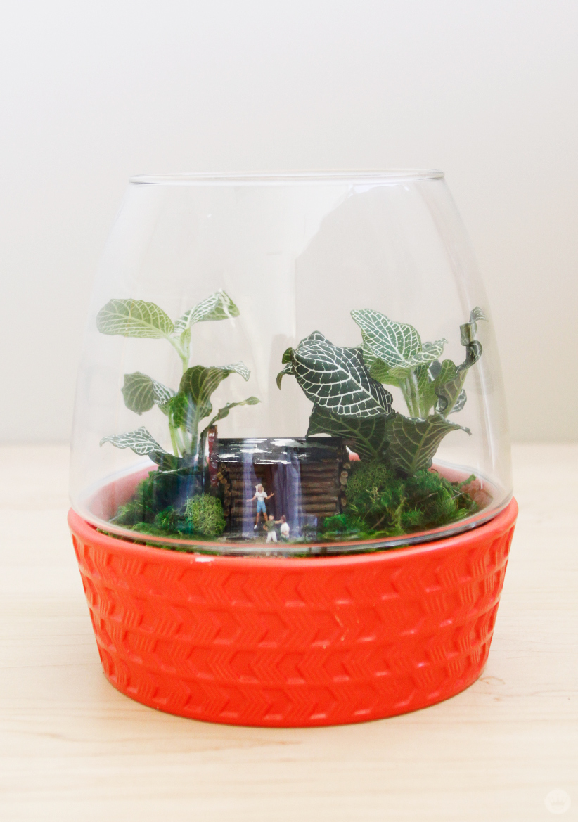 Cabin in the woods DIY Father's Day Terrarium