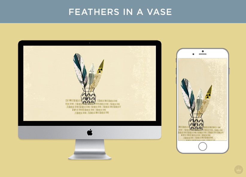 Digital wallpapers with Fall feathers and leaves: Painted feathers in a vase artwork displayed on desktop computer and smartphone screens