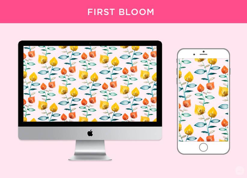 Free April 2018 Digital Wallpapers: First Bloom design shown on desktop and mobile