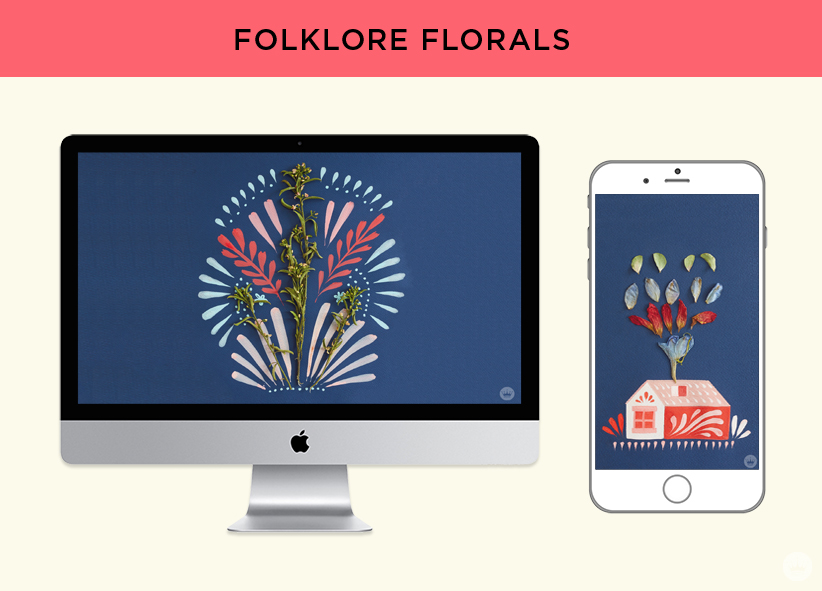 Free digital wallpaper: Pressed flower art from Hallmark. Folklore-inspired floral designs for monitors and phones.
