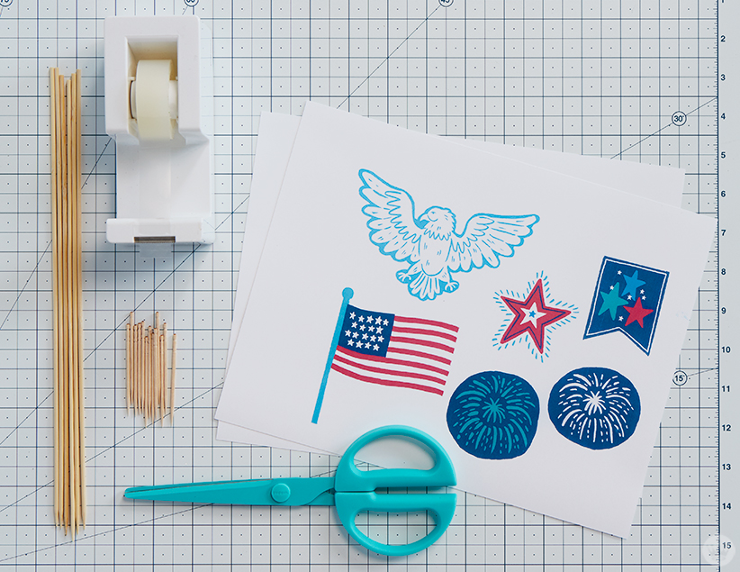July 4th Cupcake topper supplies: skewers, toothpicks, tape, scissors, free printables