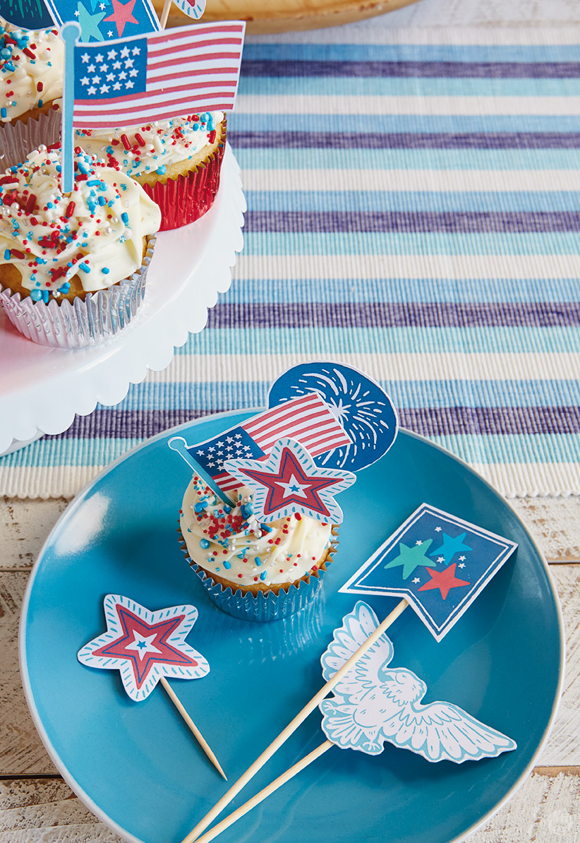 Decorated Fourth of July topics.