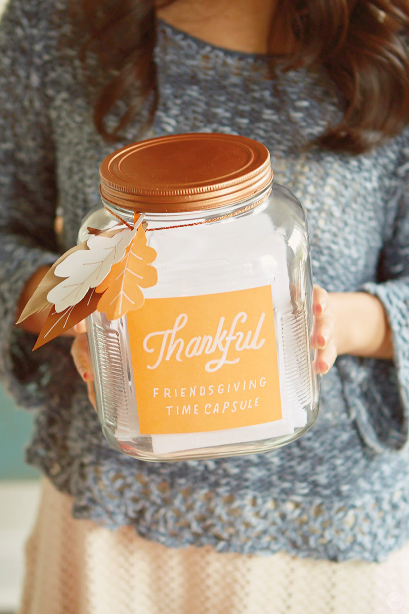 "Jar labeled ""Thankful Friendsgiving Time Capsule"""