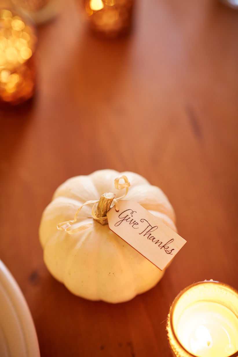 Small white pumpkin with hand-lettered wooden tag: Give Thanks