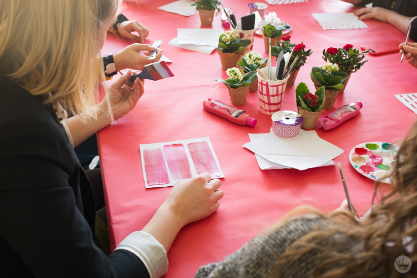 DIY Galentine's Day gifts: Painting canvas planter wraps with pink and red designs
