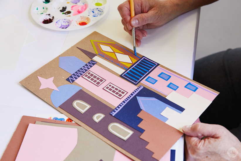 Gouache Workshop: Adding architectural details with paint to collaged buildings
