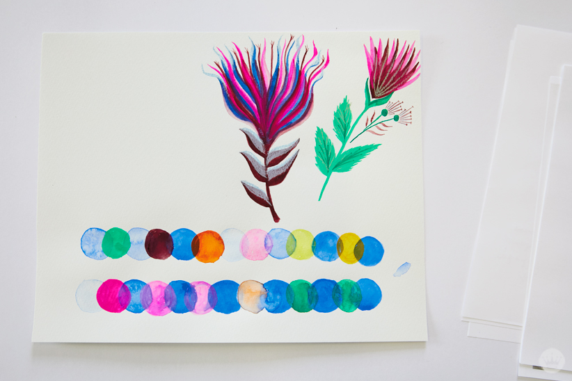 Gouache Workshop exercises: circles, flowers