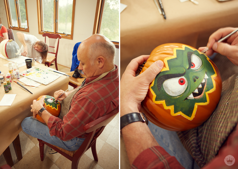 decorating pumpkins with hallmark keepsake artists