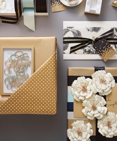 Hallmark wedding gift wrap ideas featuring playful design elements | thinkmakeshareblog.com