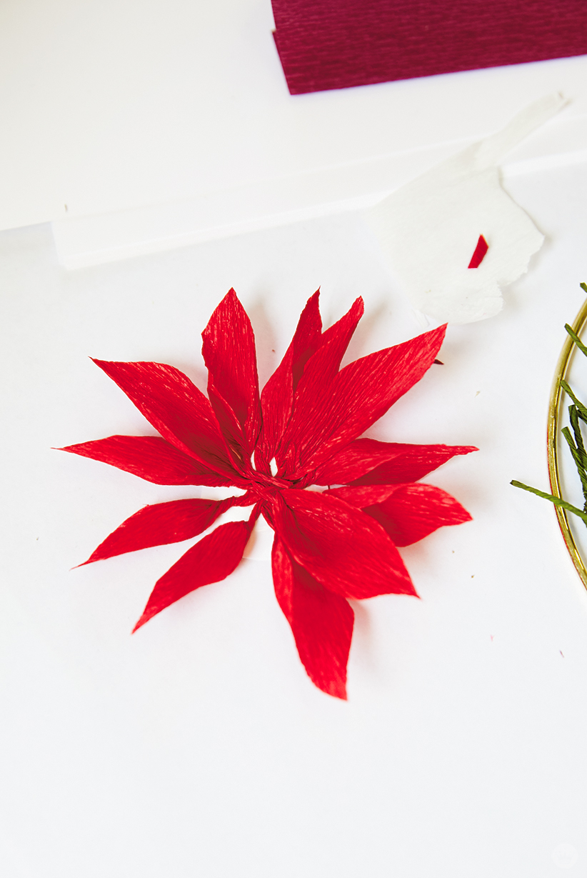 Preparing petals for a DIY paper poinsettia