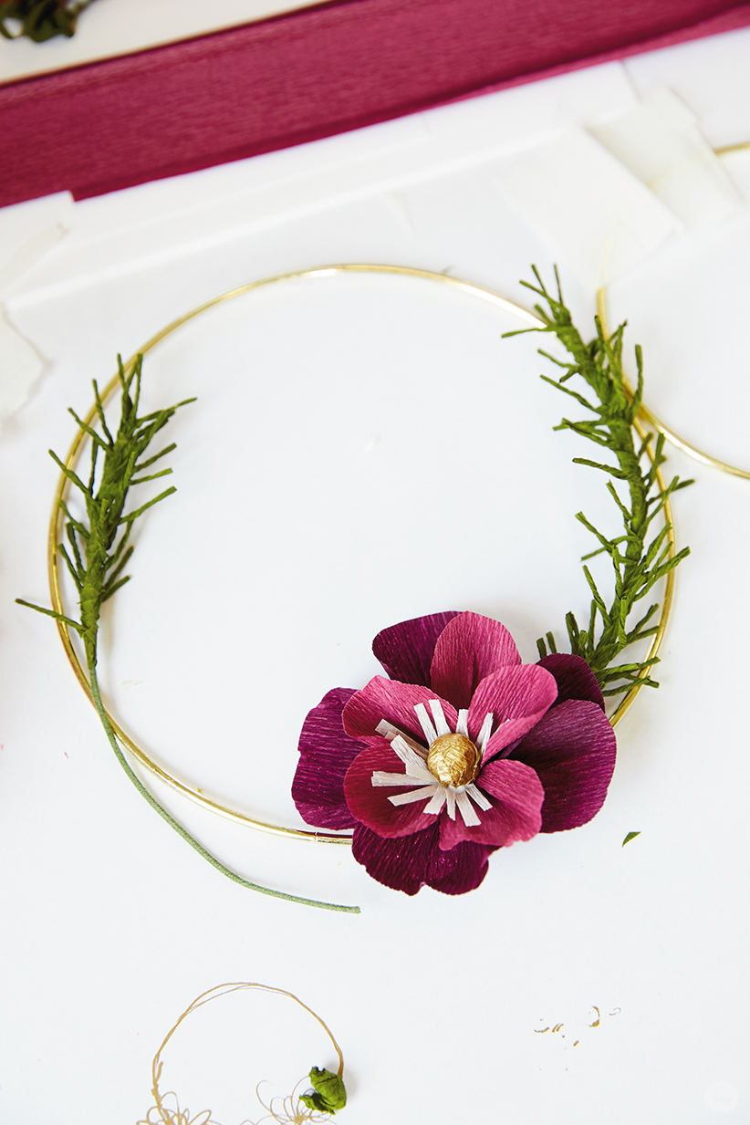 Making a wreath with crepe paper flowers