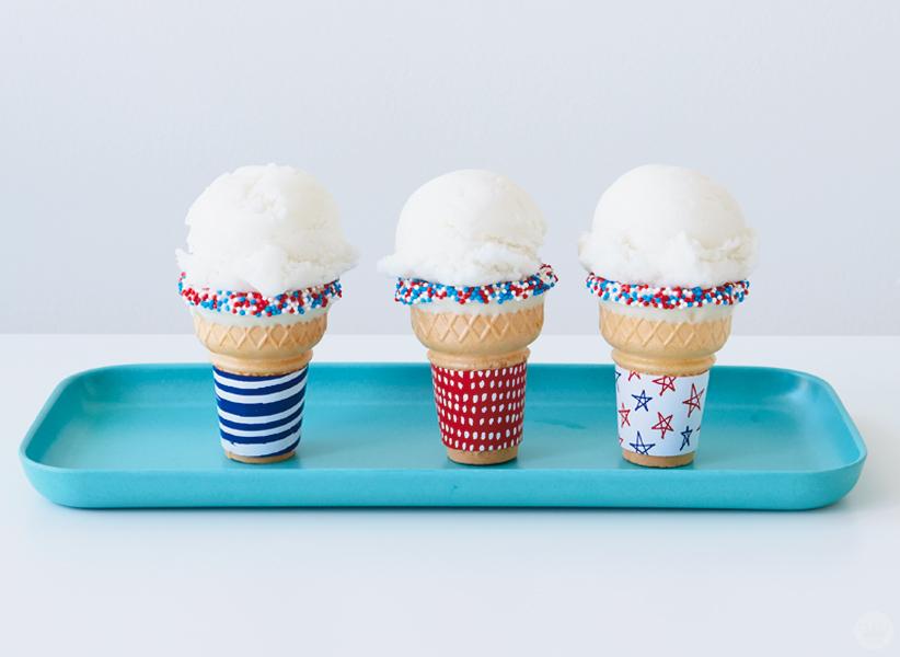 Decorated Patriotic Ice Cream Cones