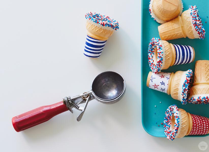 Decorated Patriotic Ice Cream Cones with scoop