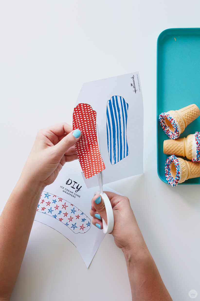 Cutting out printed dowloadable ice cream cone wrapper