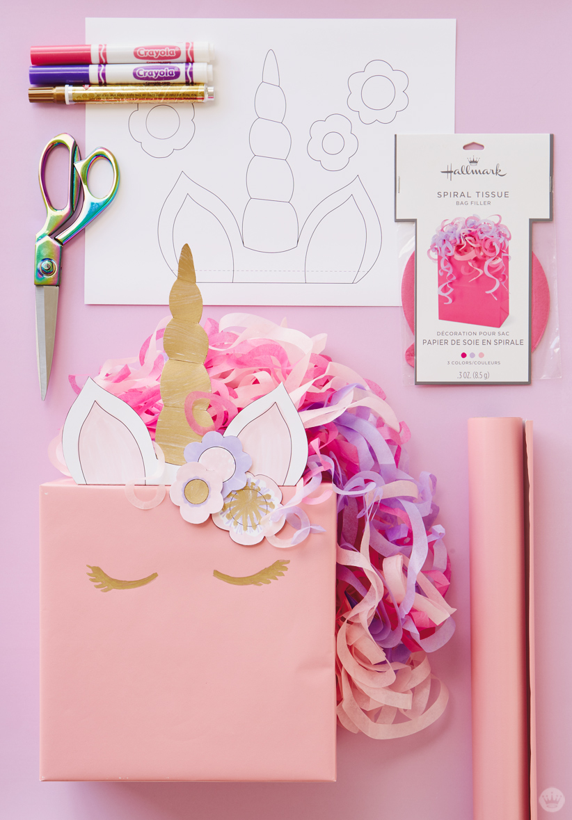 Gift Wrapping Ideas Part - 39: Kids Gift Wrap Idea: Unicorn Ears, Horn And Flowers Printed On White Copier  Paper