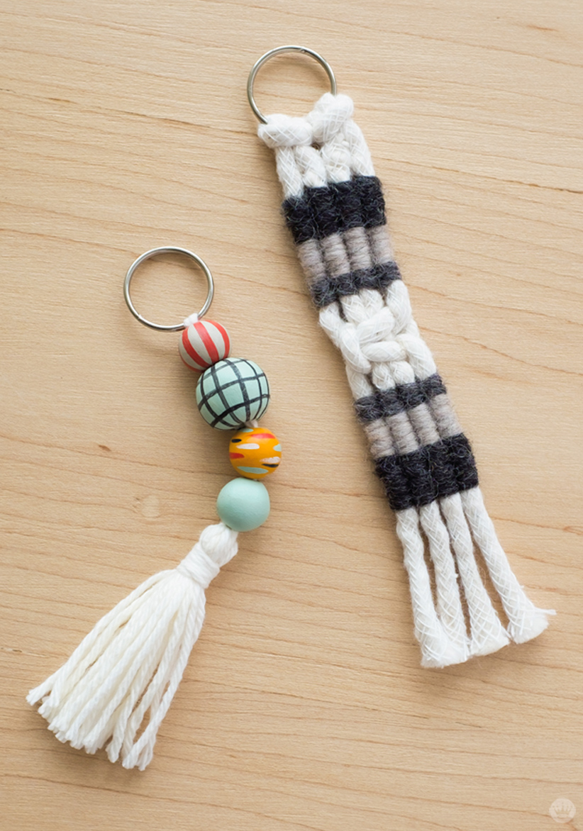 Macramé and tassel keychains