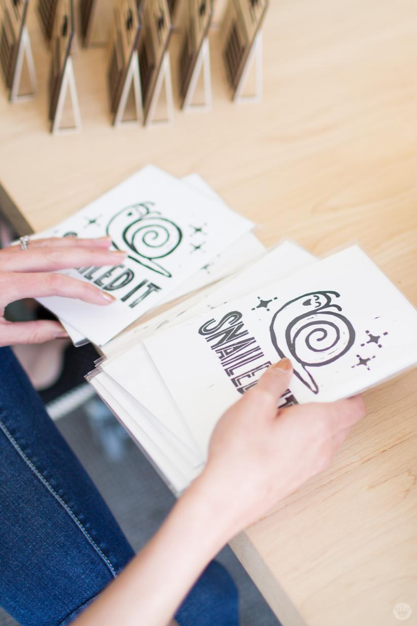 "Handmade gift exchange: ""Snailed it"" prints"