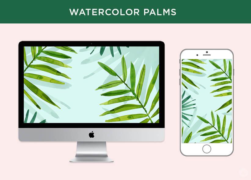 Free May 2018 digital wallpapers: Watercolor palms