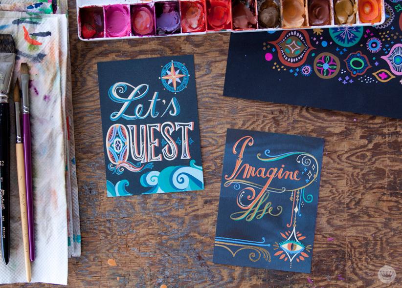 Mirna Stubbs Studio Ink collection | vibrant guache on black paper | thinkmakeshareblog.com