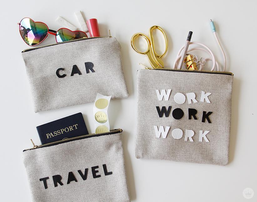 Dorm room decor: No-sew personalized zipper bags