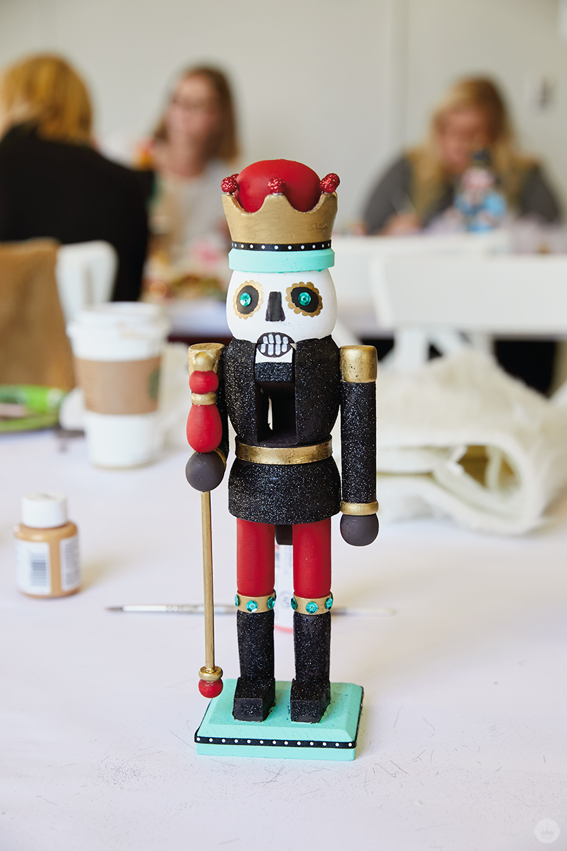 Hand painted nutcracker with a skeleton design—almost finished!