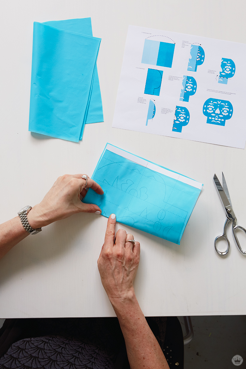 DIY Papel Picado: Folding sheet and template.