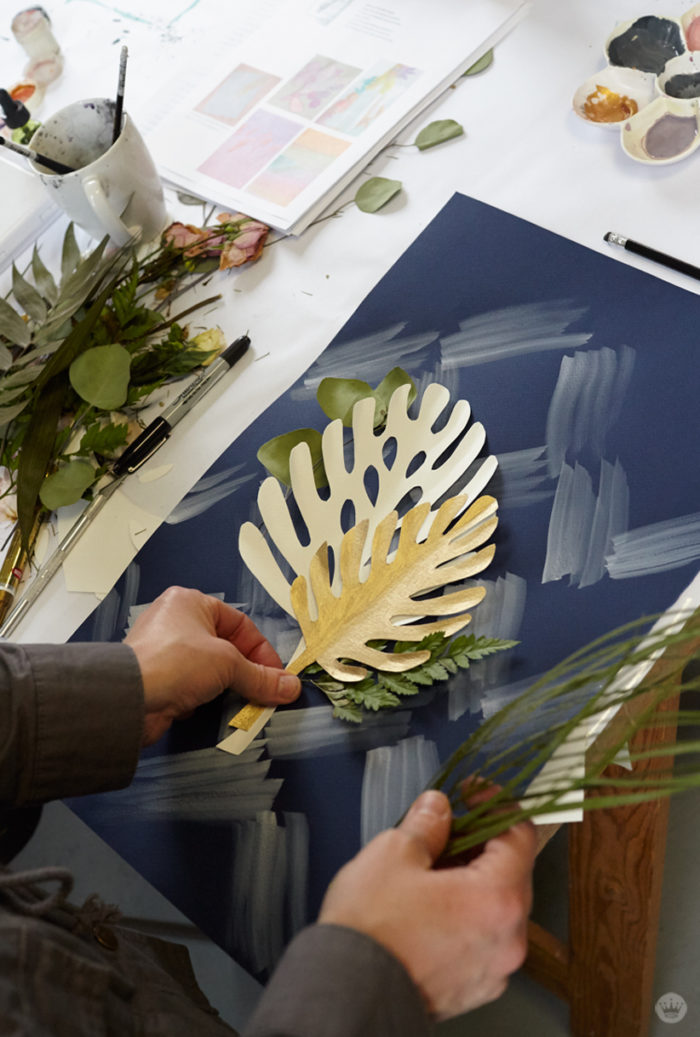 Pressed flower idea: Combine real and paper flowers on a hand-painted background