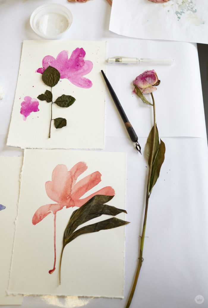 Pressed flower ideas from a hallmark workshop thinkkeare pressed flower idea combine painted and real florals mightylinksfo