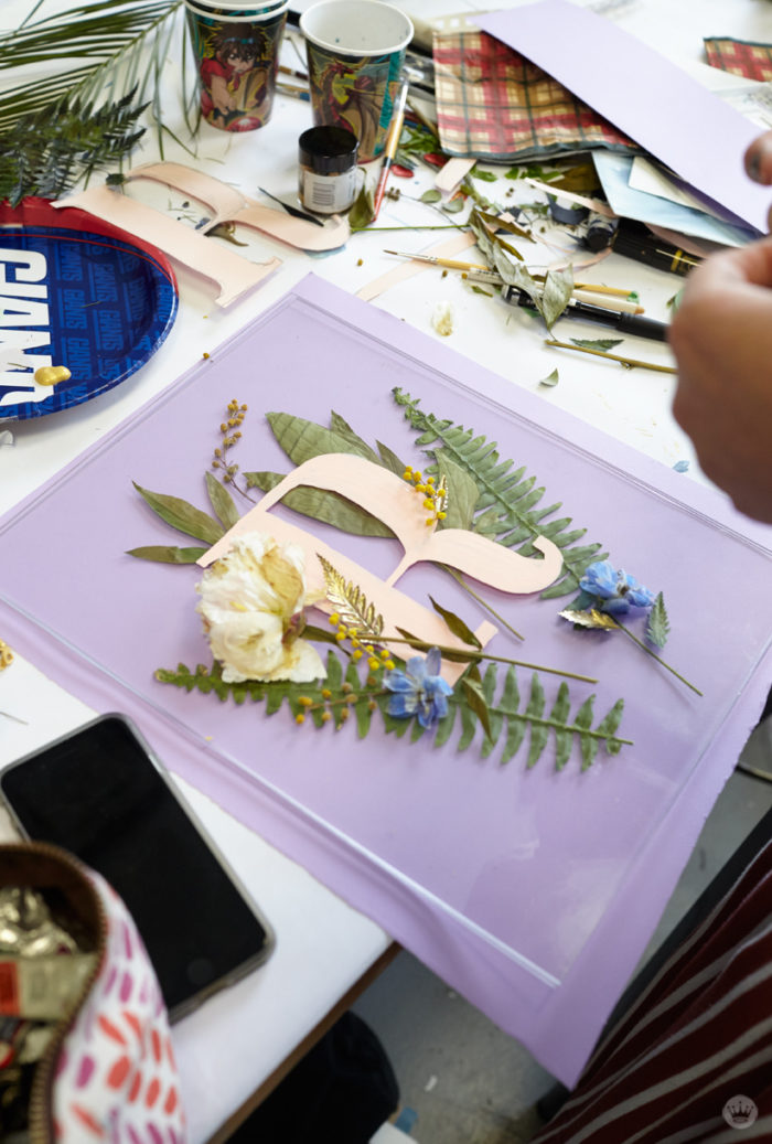 Pressed flower idea: Combine pressed flowers with cut-out letters on plexiglass