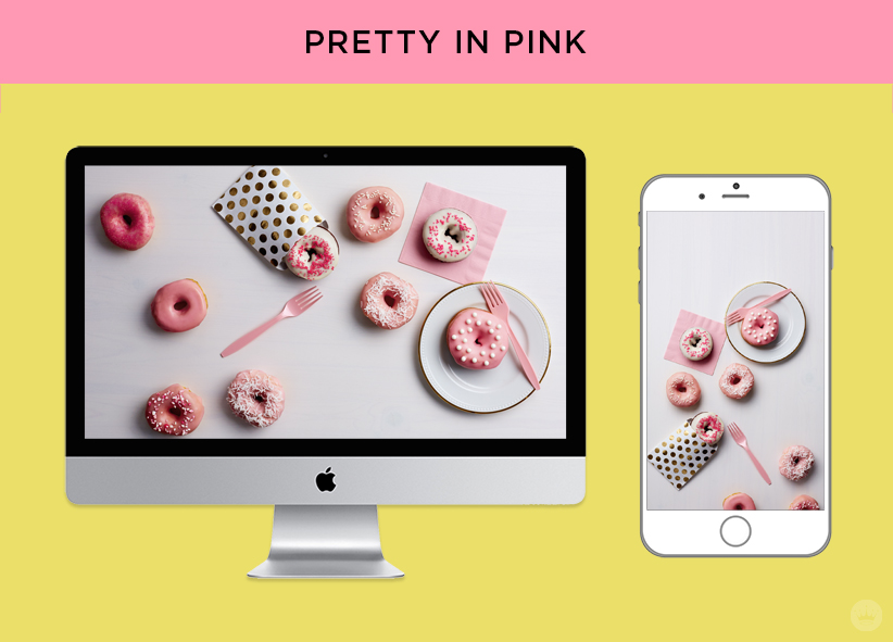 Download Pretty in Pink Donuts for June Wallpapers | thinkmakeshareblog.com
