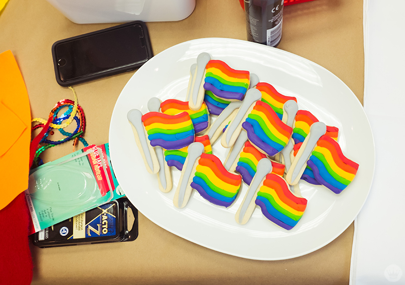 Frosted rainbow pride flag cookies.