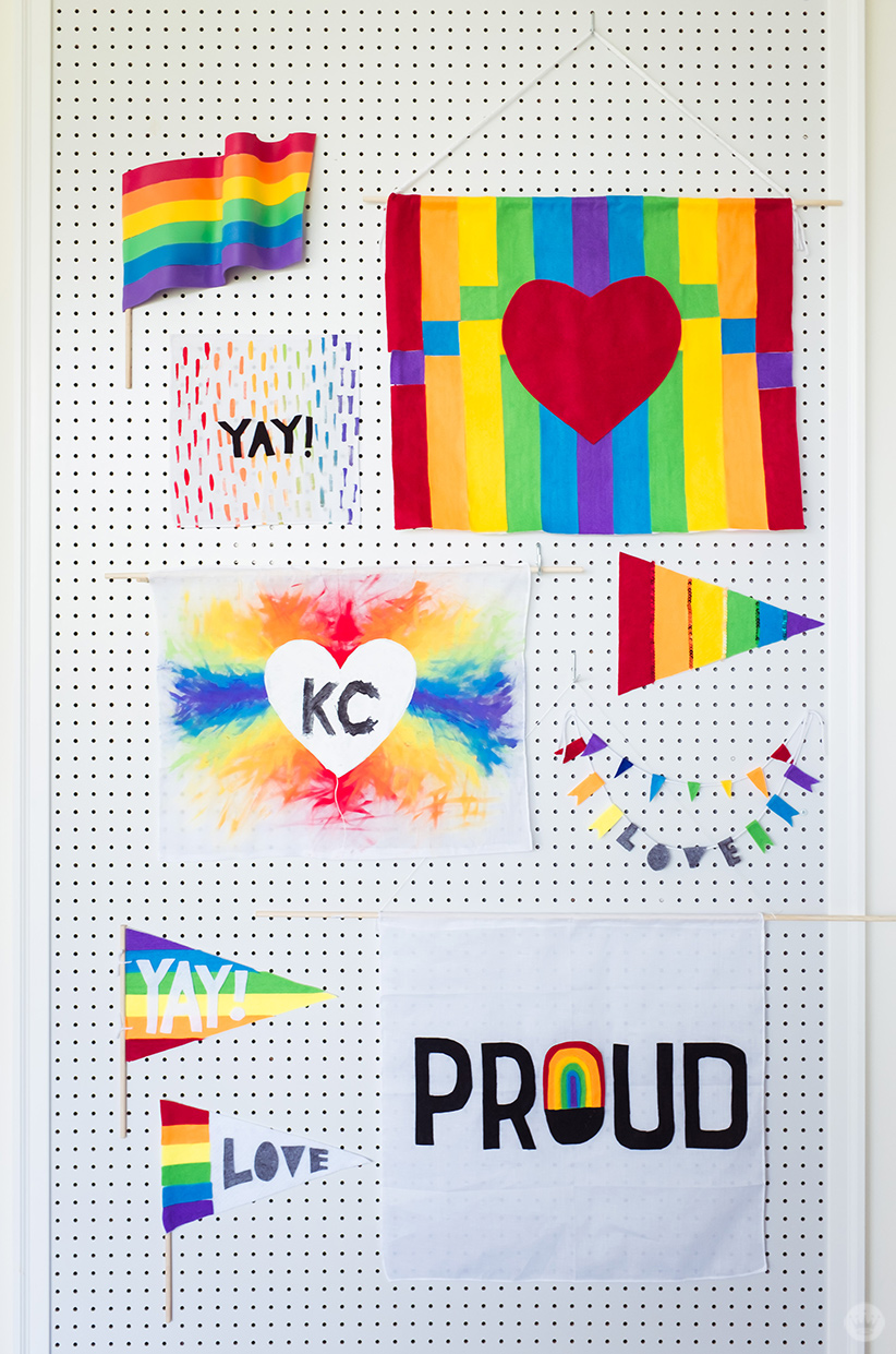 Display of DIY rainbow flags for LGBTQ Pride Month