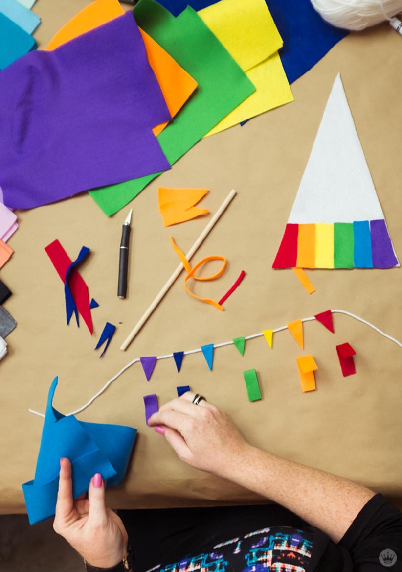Felt in rainbow colors for DIY pride flags.