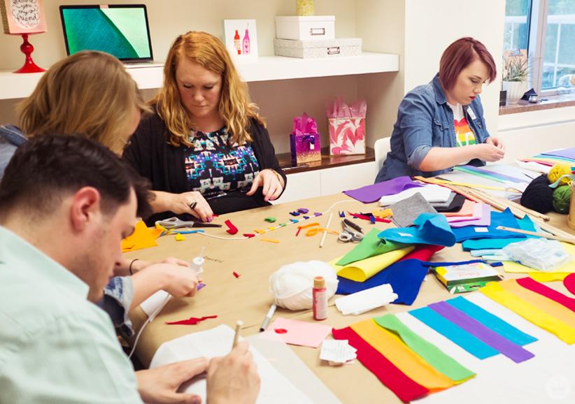 Hallmark creatives make their own pride flags.