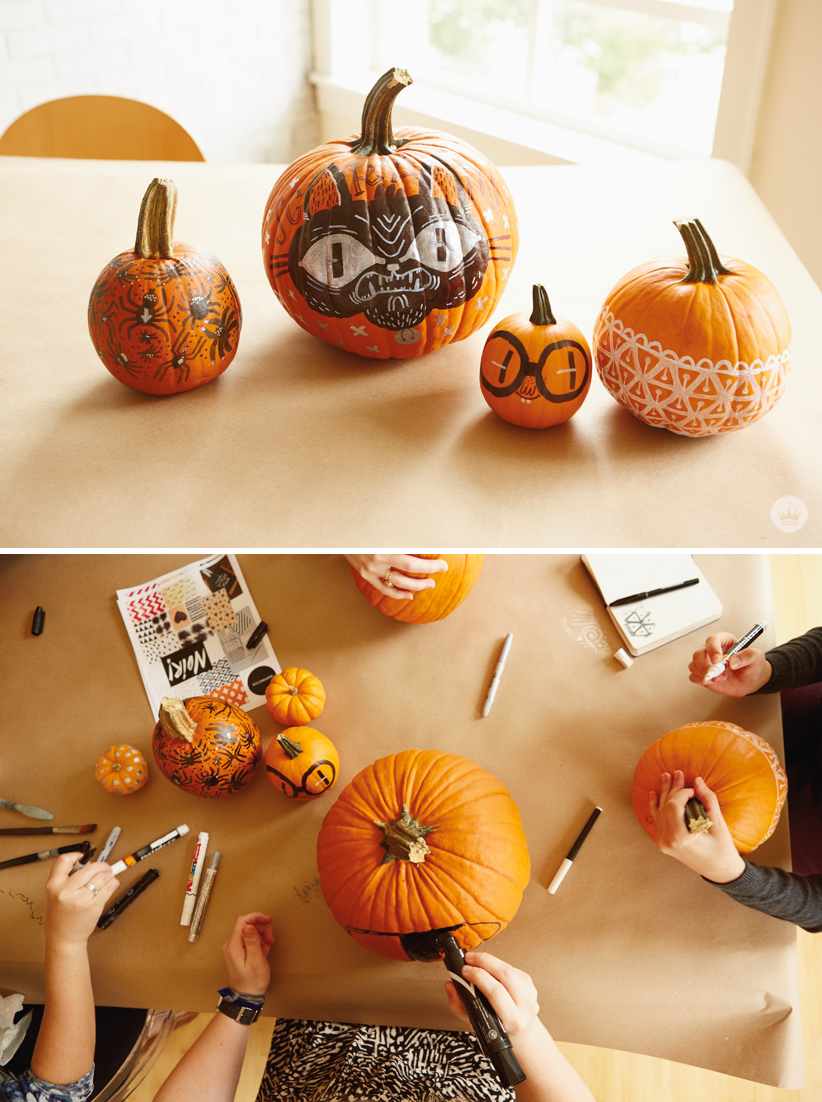 Diy simple pumpkin decorating with markers think make for A pumpkin decoration