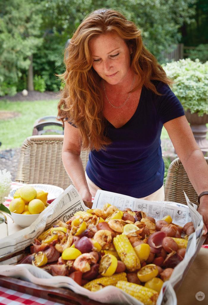 Lauren serves her shrimp boil