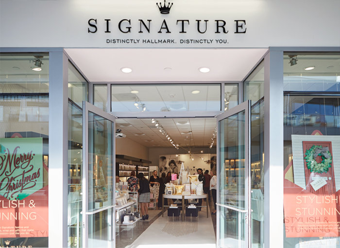Storefront of the new Hallmark Signature Store in Santa Monica, CA