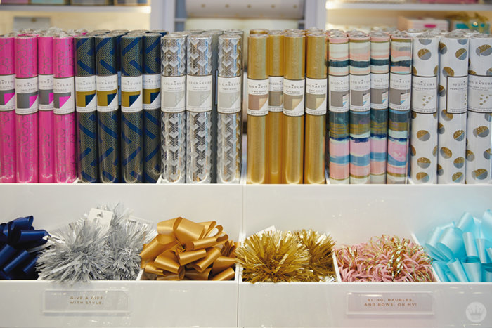Gift wrap display at the new Hallmark Signature Store in Santa Monica, CA