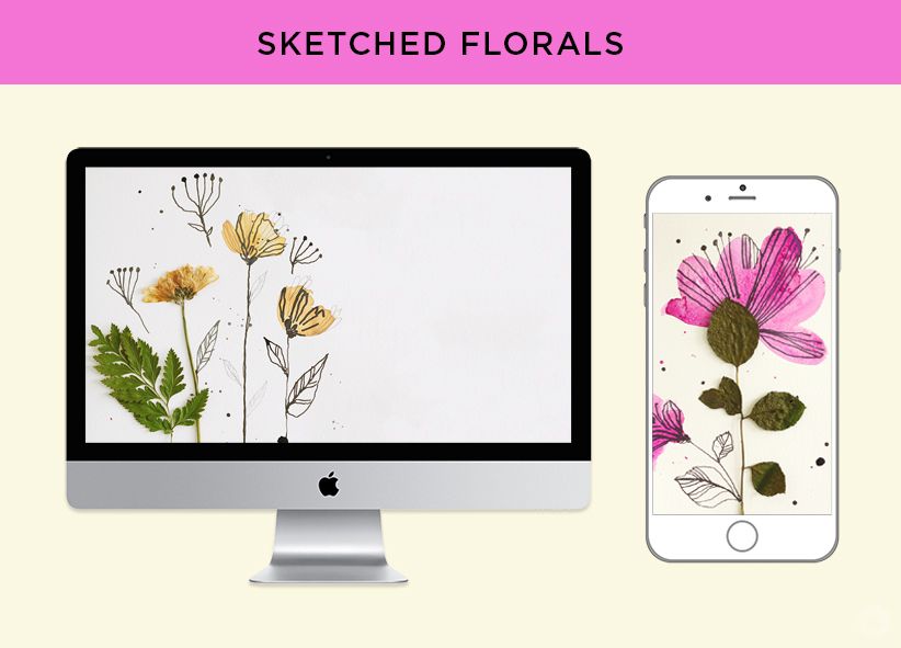 free digital wallpaper pressed flower art from hallmark sketched floral designs for monitors and