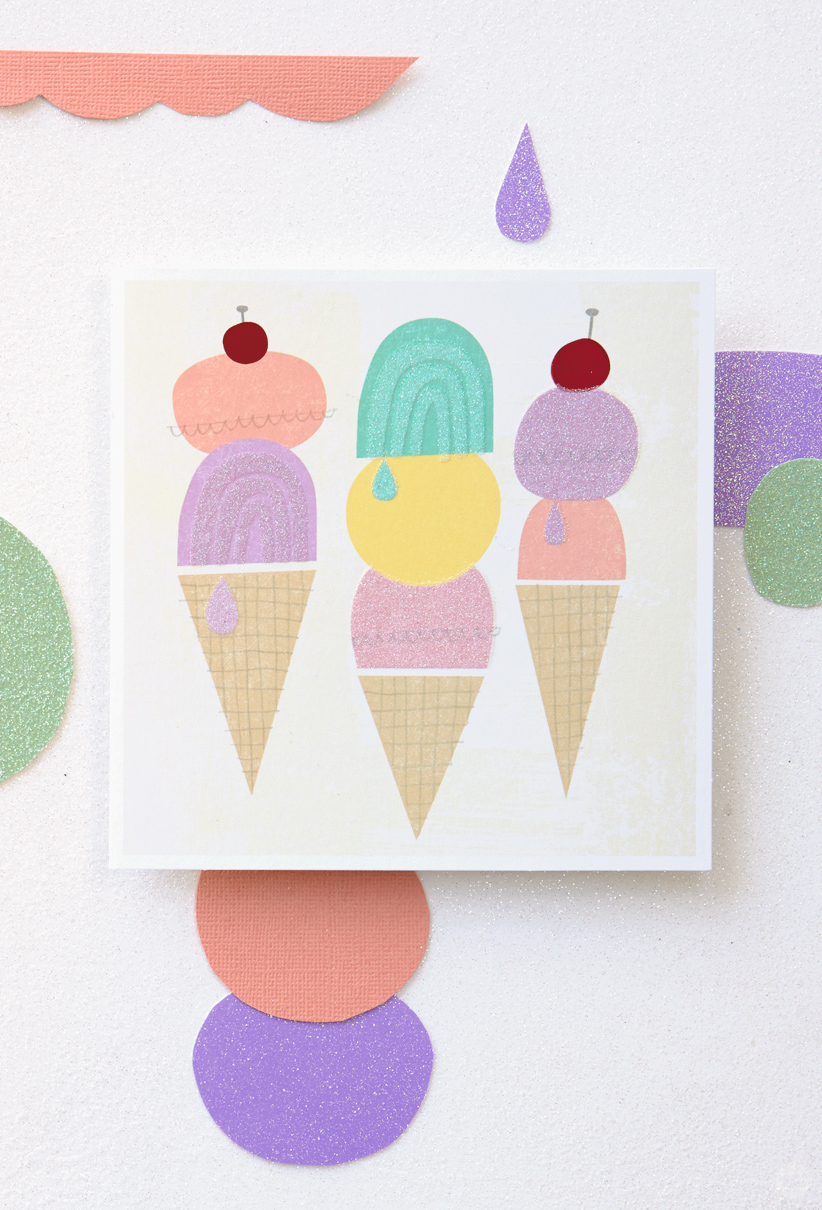 Artist sketchbooks inspire new card collection thinkkeare card featuring graphic pastel ice cream cone designs kristyandbryce Image collections