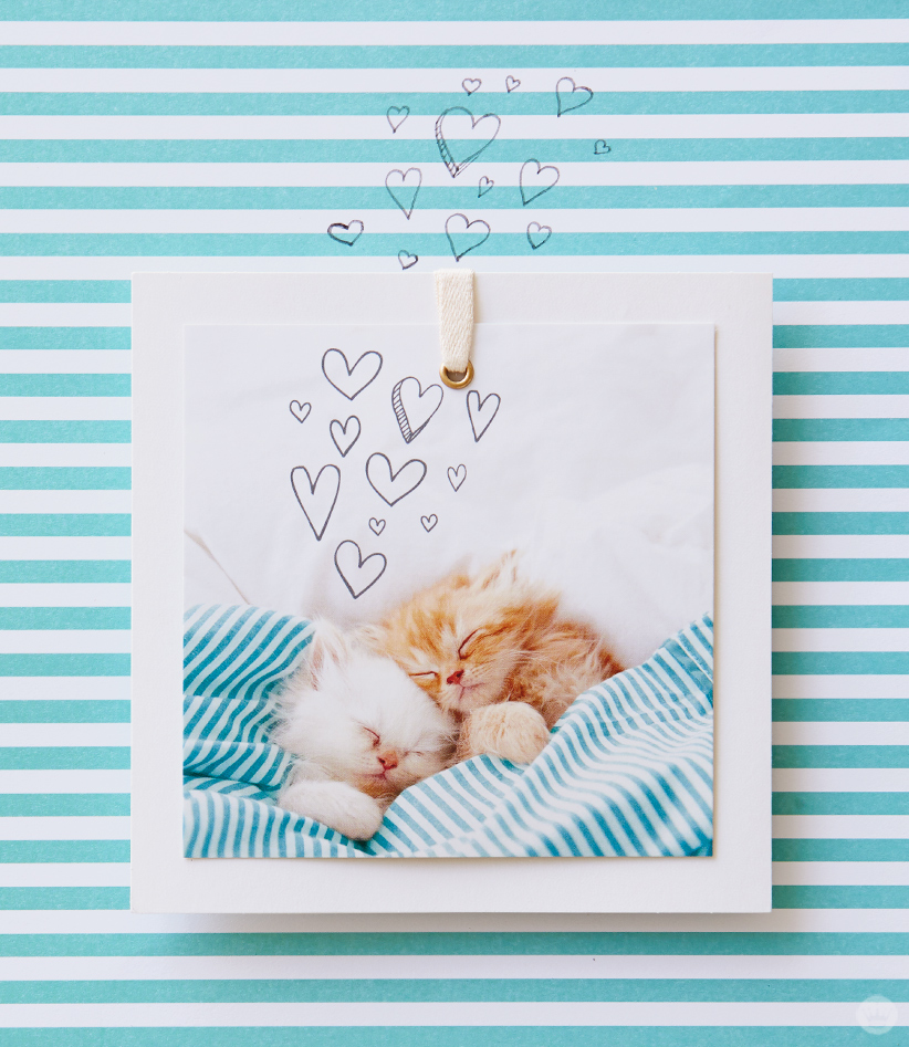 Photo of two sleeping kittens on a blue and white striped background with hand-drawn hearts