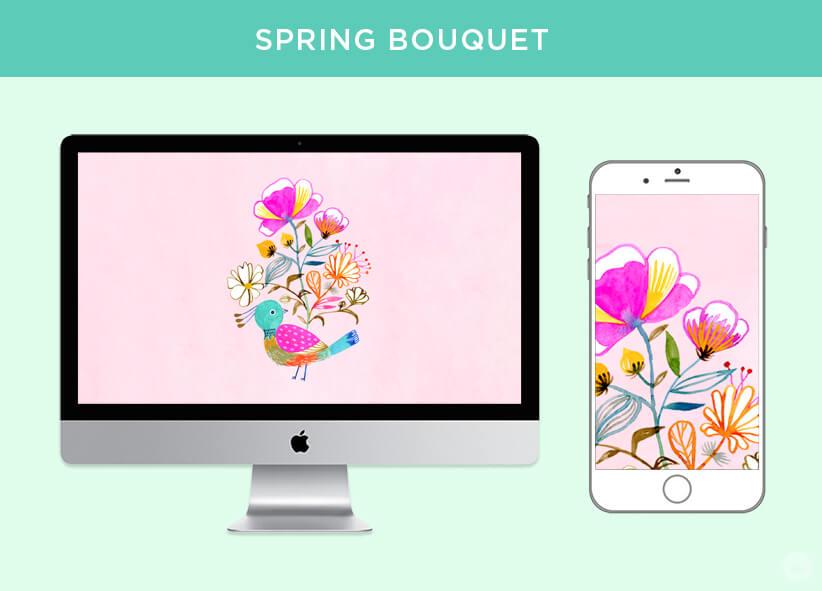 Free April 2018 Digital Wallpapers: Spring Bouquet design shown on desktop and mobile