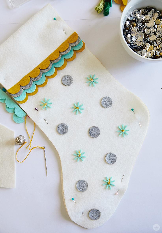 DIY Christmas stocking with felt embellishments