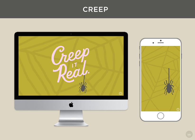 """""""Creep it Real"""" digital wallpaper with spider and web, shown on monitor and iPhone"""