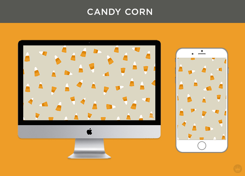 """""""Candy Corn"""" digital wallpaper illustrated candy corn kernels, shown on monitor and iPhone"""