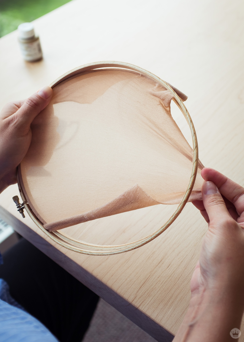 Stretching panty hose to make an embroidery hoop screen